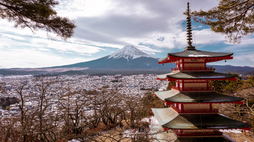 Mt. Fuji from the Chureito Pagoda in Japan