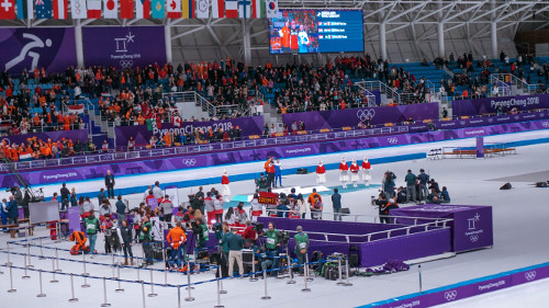 Winners men's 10000m speed skating at the Pyeongchang Winter Olympics 2018 in Gangneung, Korea