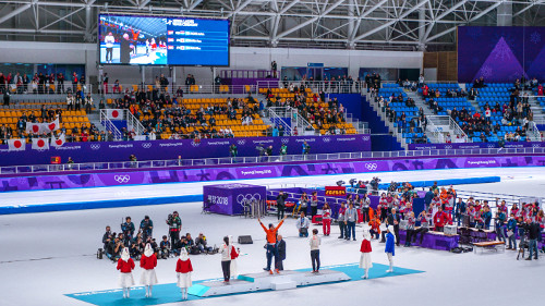 Winners women's 10000m speed skating at the Pyeongchang Winter Olympics 2018 in Gangneung, Korea