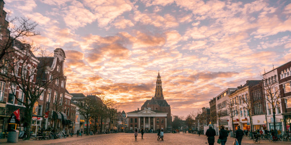 Sunset view of the Korenbeurs in Groningen, the Netherlands