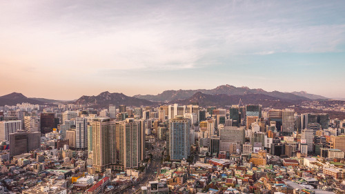 Sunset view of Seoul, Korea